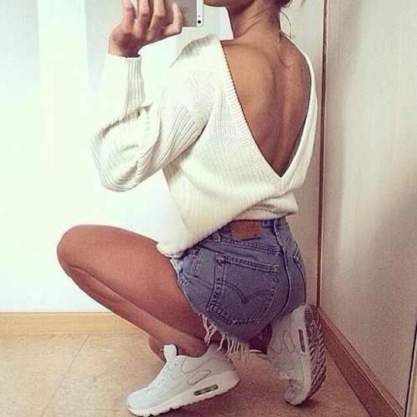 white sweater open back denim shorts white sneakers nike nike shoes sweater asos