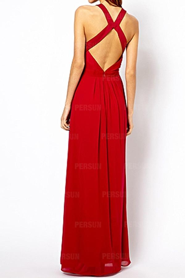 Sexy Cross Back Chiffon Dress in Red [FXBI00516] - PersunMall.com