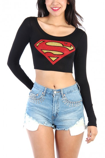 LoveMelrose.com From Harry & Molly | RHINESTONE SUPERMAN LONG SLEEVE CROP TOP - BLACK