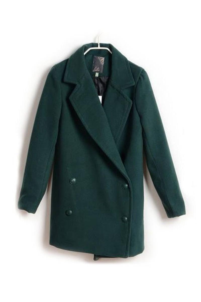 Lapel Woolen Women Four-button Slim Dignified Overcoat,Cheap in Wendybox.com