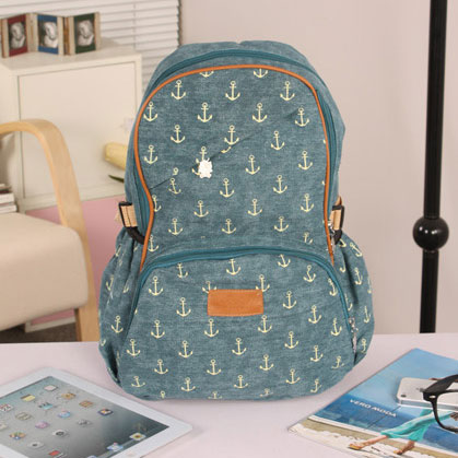Anchor Print Leisure Canvas Backpack-blue on Luulla