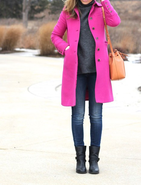 lilly's style blogger jeans pink coat black boots