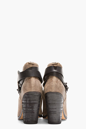 Rag & Bone Taupe Waxed Suede Belted Harrow Boots for women | SSENSE
