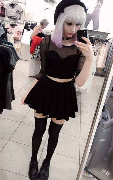 shirt goth lolita punk pastel goth skirt top black black top pretty crop summer nice love pink blue green yellow clothes fashion style dress sheer top skater skirt ken hat shoes black dress cute emo
