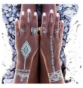 jewels fake tattoos summer nails gold midi rings ring gold tattoos golden tattoo jewelry silver ring silver boho boho jewelry