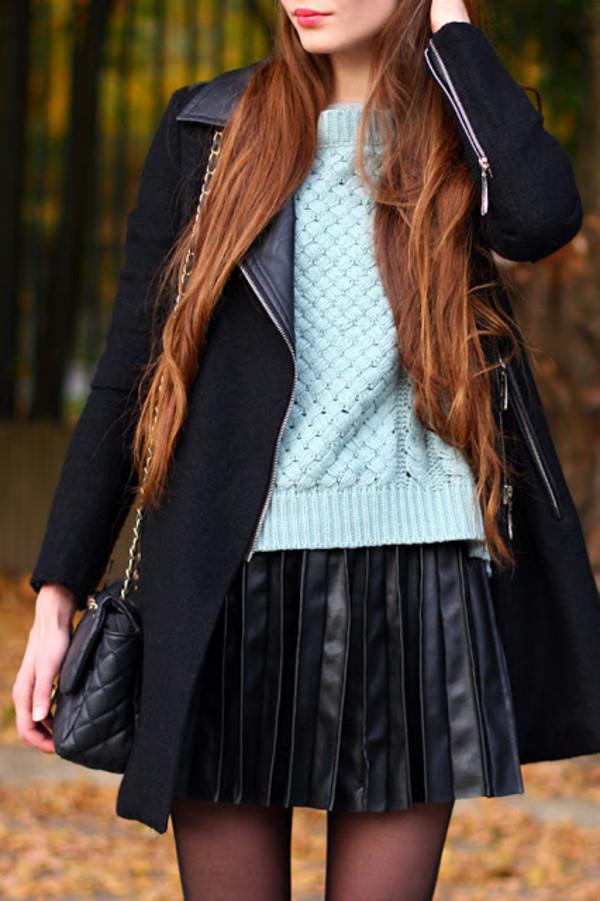 dress romwe coat skirt black faux leather
