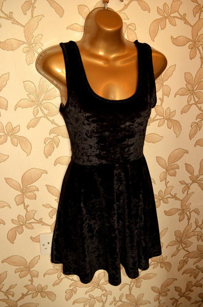 Topshop Black Velvet Skater Dress UK 6 Petite | eBay
