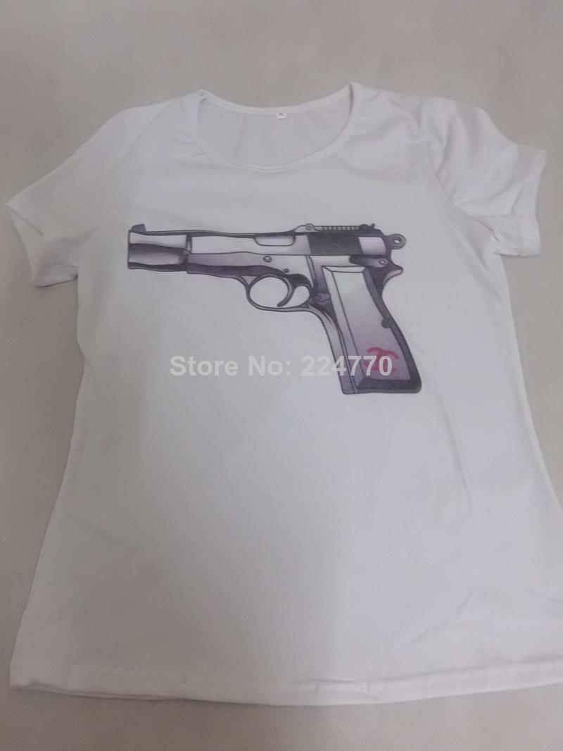 Wholesale Product Snapshot Product name is 2014 New Arrive Gun Print T Shirt for Women, Comfortable Wear Short Sleeve Gun Printed Top Tee
