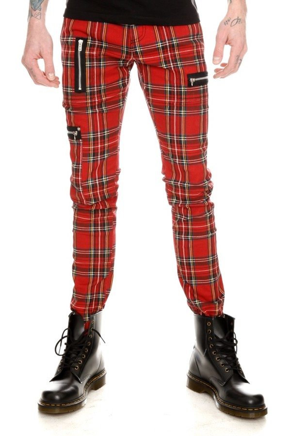 jeans red plaid