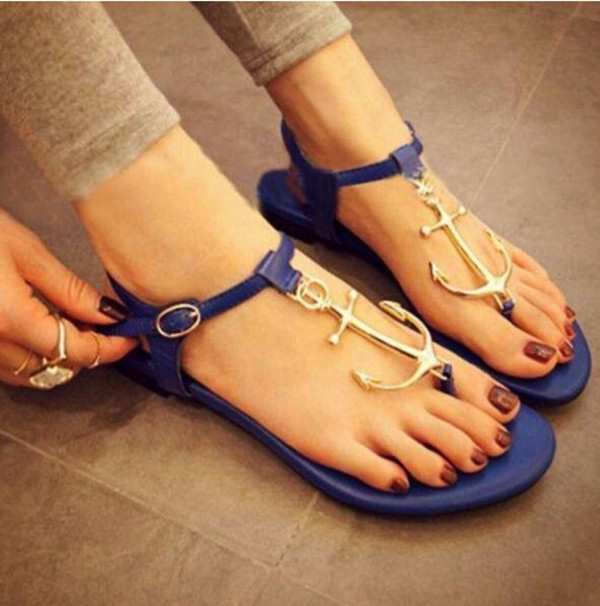 shoes sandals anchor flat sandals sailor style blue blue shoes blue sandals summer anchor sailor beach shoes flip-flops clothes navi blue cute dress tumblr outfit blue and gold shoes fashion beautiful pretty elegant women summer classy trendy cute sexy new cool girl