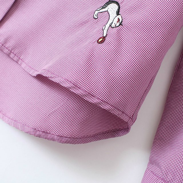Purple Lapel Long Sleeve Cats Embroidered Blouse - Sheinside.com