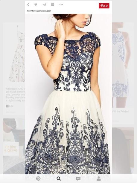 dress white blue dress