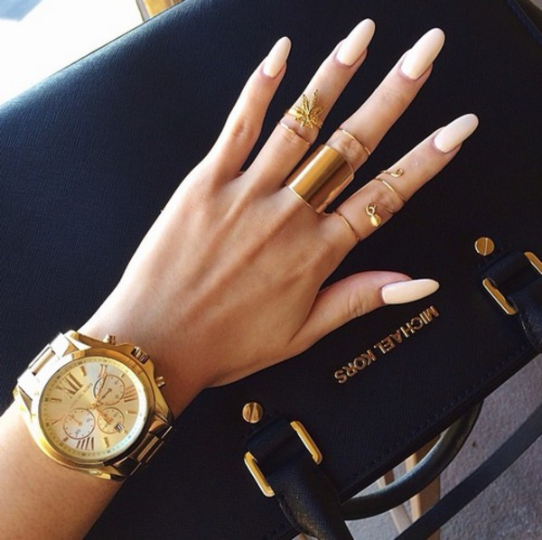 nail polish jewels bag gold ring gold jewelry watch nail accessories nails michael kors watch