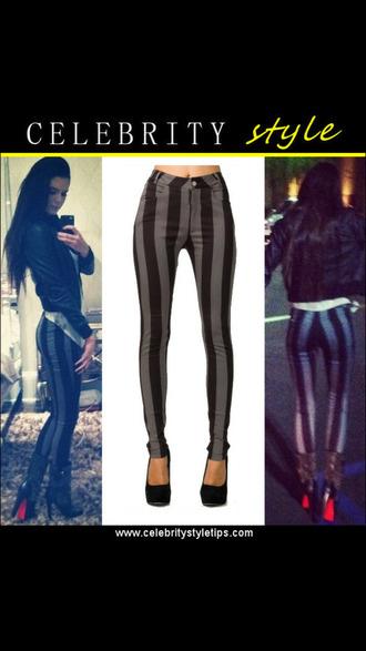 grey/black horizontal stripes high waisted pants