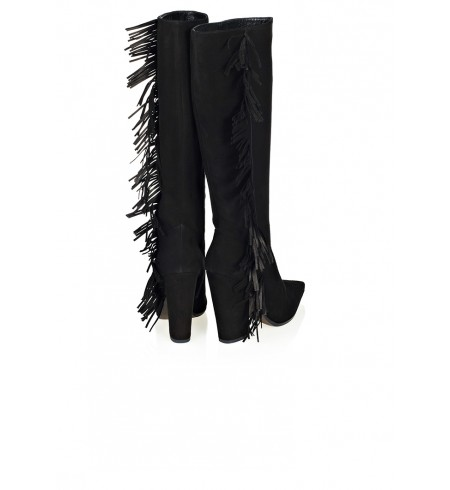 Azzura Fringed Knee-High Boots - London-Boutiques.com