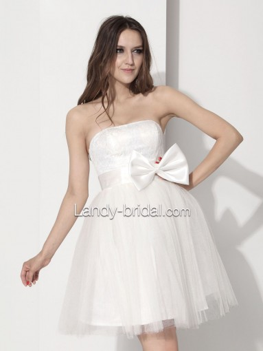 Formal Dance A Line Strapless Short Tulle White Party Dress Lbpre12010 for $70