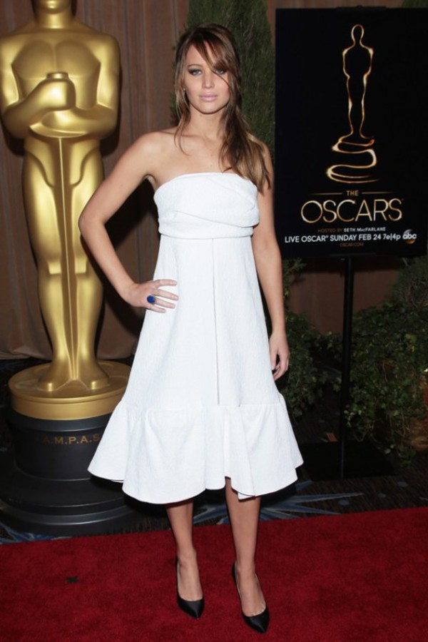 dress jennifer lawrence celebrity style evening dress white dress