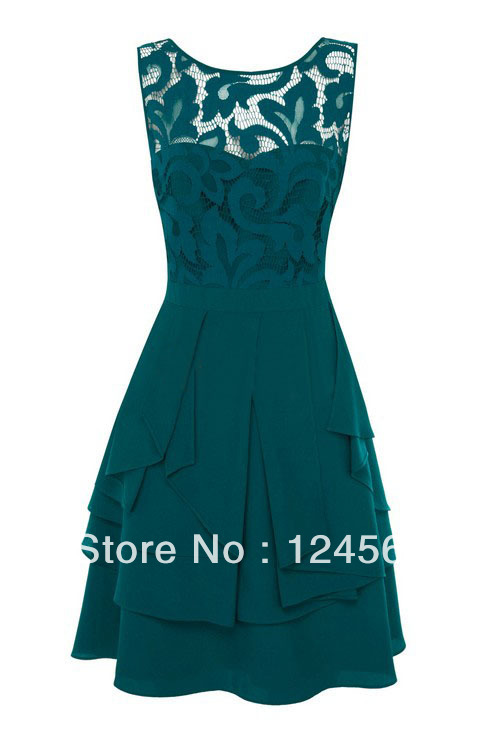 Aliexpress.com : Buy Free  shipping  Teal Lace Floral Designer Sleeveless Pleated Dress  High quality dress from Reliable high quality dress suppliers on baby  house