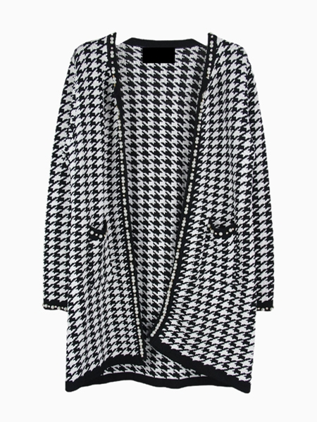 Houndstooth Knitted Coat With Pearls Trim | Choies