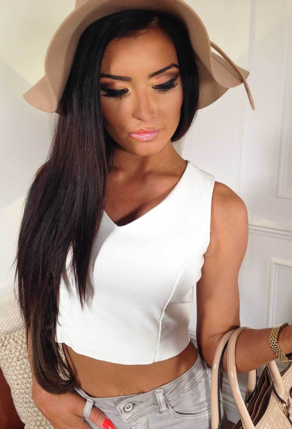 Top Pink Boutique Crop Tops Leather Effect Casual
