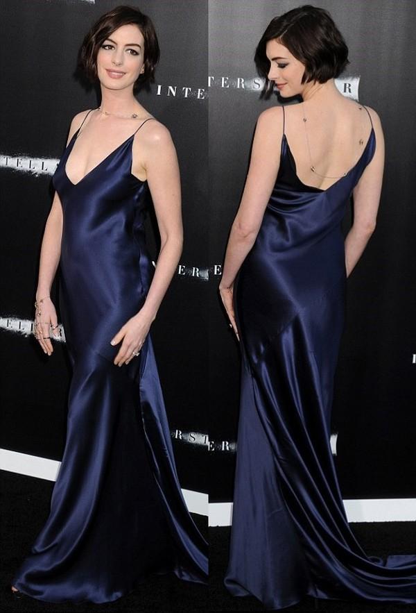 Famous dress, gown, silk, dark blue, navy, anne hathaway, slip satin  KJ03
