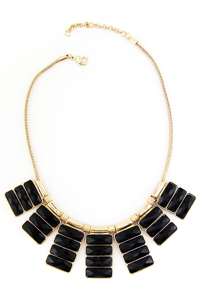 BLACK AND GOLD RADIANT STONE NECKLACE | Haute & Rebellious