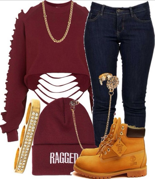 sweater ragged timberlands gold jeans hat shorts shoes shirt red ripped long sleeves