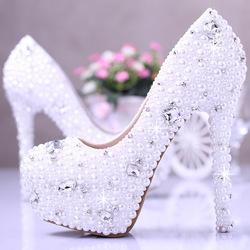 2014 high heels plateauschuhe elegant perle hochzeit schuhe weiß damenschuhe strass schuhe in  von  auf Aliexpress.com
