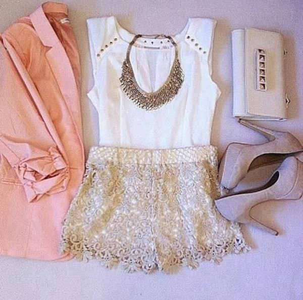 shorts pink blazer lace shorts high heels clutch jacket blouse jewels bag shoes