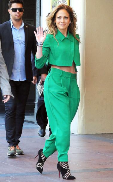 pants cropped high waisted pants fashion jennifer lopez heels blouse