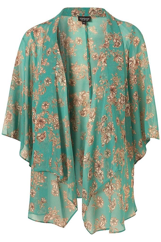 TOPSHOP Jade Green Mint Floral Kimono Top Jacket UK 8 US 4 EU 36 | eBay