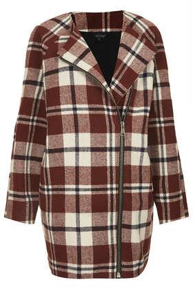 Collarless Check Wool Jacket - Topshop