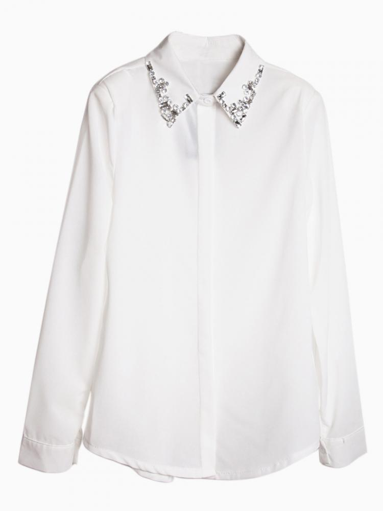 White Chiffon Shirt with Rhinestone Collar | Choies