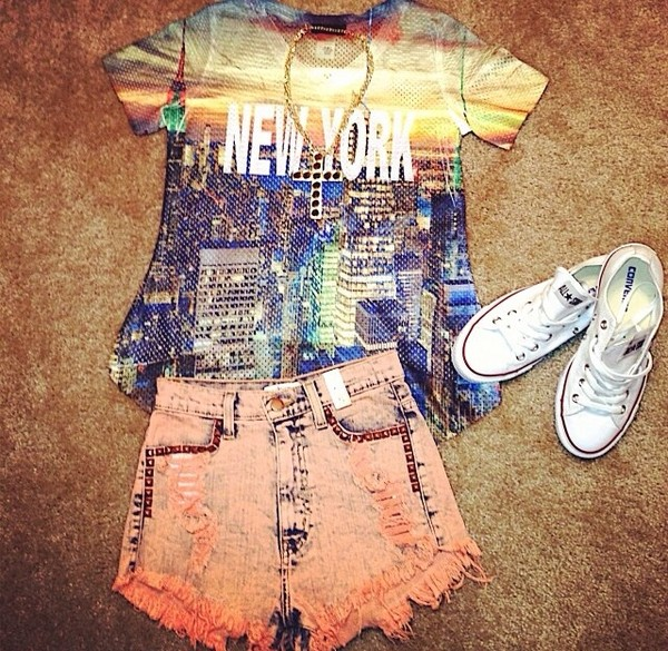 shorts bright flashy coral peach shorts new york city big city ombre top big apple shirt peach