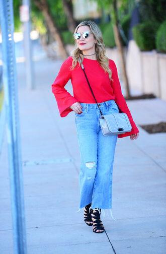 thehuntercollector blogger dress top jeans shoes bag sunglasses jewels red top crossbody bag sandals