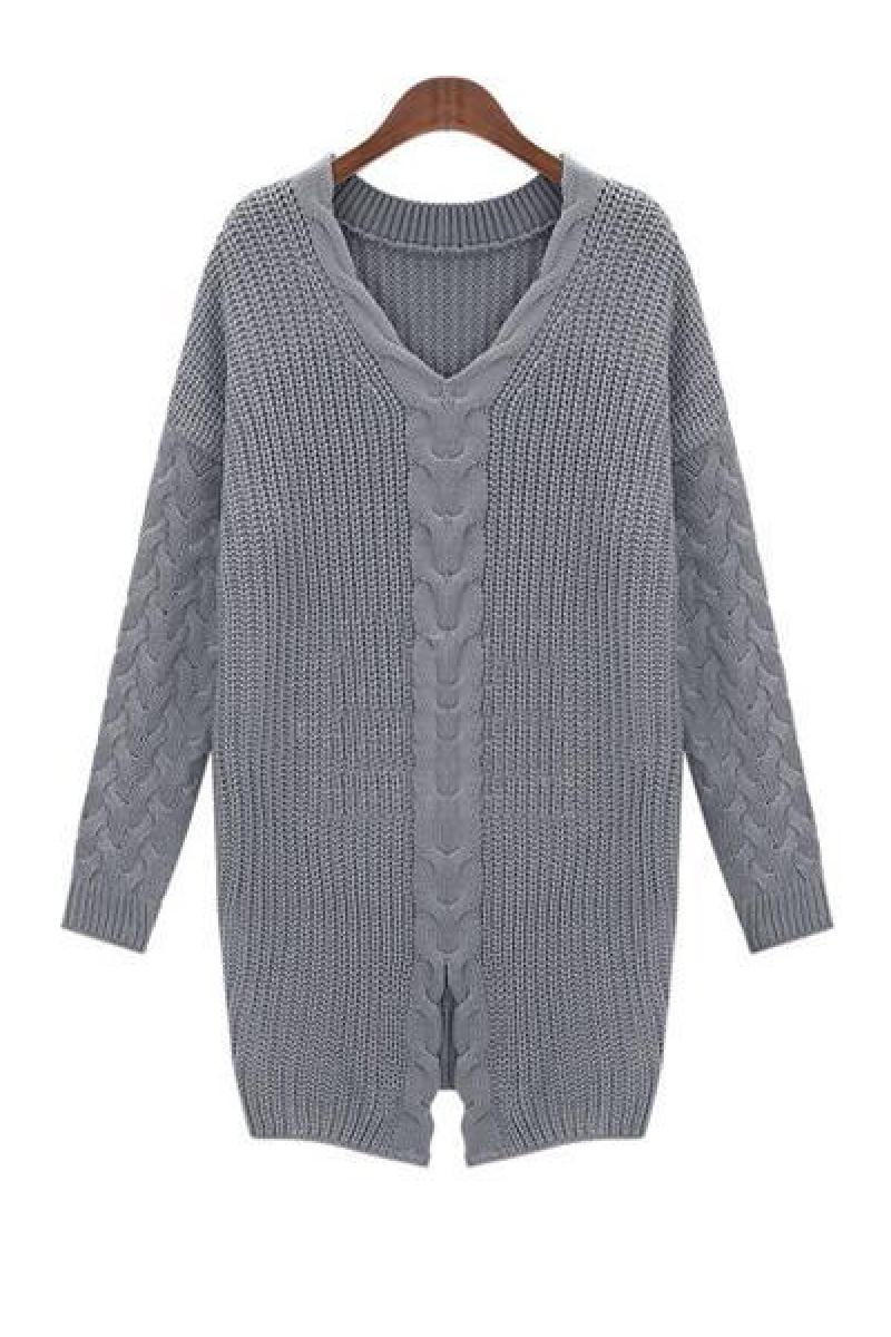 New Hem Slit Long Section Sweater ,Cheap in Wendybox.com
