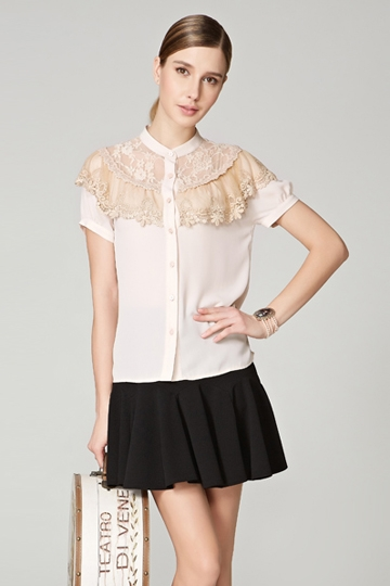 Short-sleeved Lace Stitching Shirt [FDBI00433]- US$ 64.99 - PersunMall.com