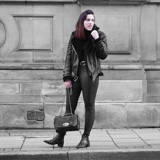 jacket maniere de voir shearling biker leather sheepskin faux buckles black acne studios black shearling jacket