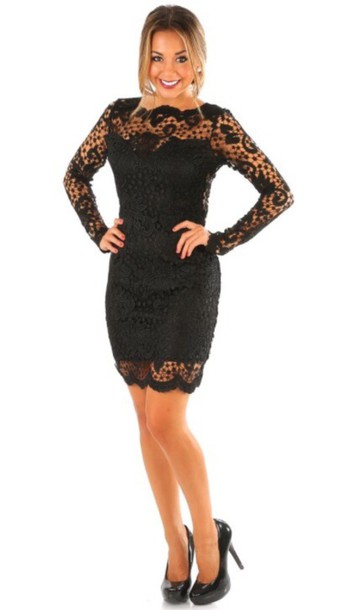 dress lace dress black lace long sleeves long sleeve dress open back dresses openback backless dress