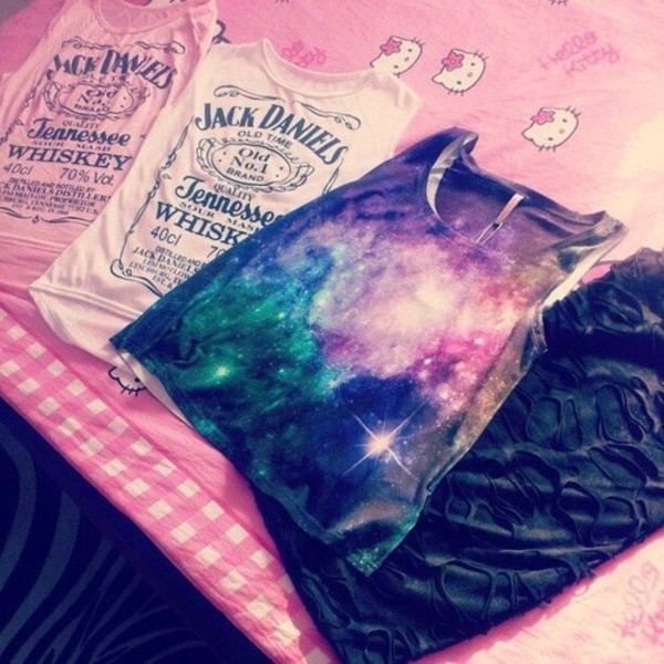 shirt galaxy print jack daniel's muscle tee tank top clothes