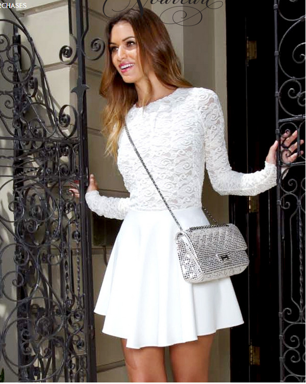 dress long sleeves lace flowy circle skirt lace dress white white dress white lace dress long sleeve dress prom dress summer dress mini dress cute little white dress