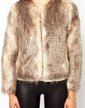 Unreal Fur | Unreal Fur Stripe Short Jacket at ASOS