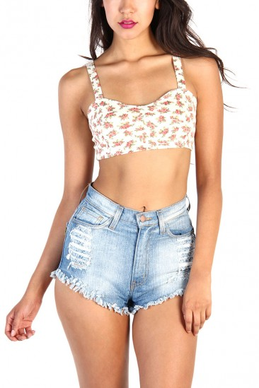LoveMelrose.com From Harry & Molly | Floral ladder back cropped top - Ivory
