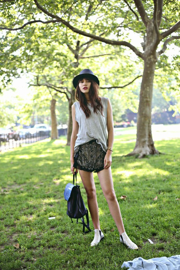 natalie off duty top shoes bag jewels backpack shorts tank top hat Sequin shorts