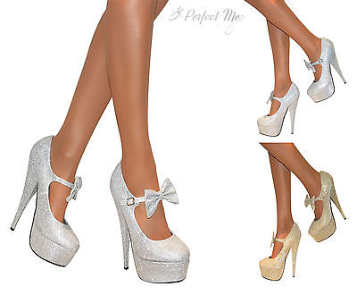 KOI COUTURE SILVER GLITTER OR GOLD GLITTER MARY JANE BOW PLATFORM STILETTO HIGH HEELS COURT SHOES
