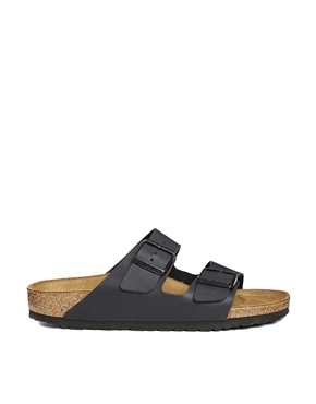Birkenstock   Birkenstock Arizona Black Flat Sandals at ASOS