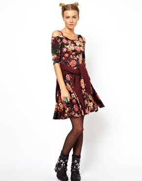 ASOS | ASOS Reclaimed Vintage Cut Out Shoulder Print Dress at ASOS