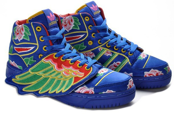 shoes adidas wings adidas shoes adidas blue sneakers high top sneakers embroidered adidas originals adidas shoes sneakers wings blue royal blue floral floral wing shoes wing sneakers red green flowers yellow