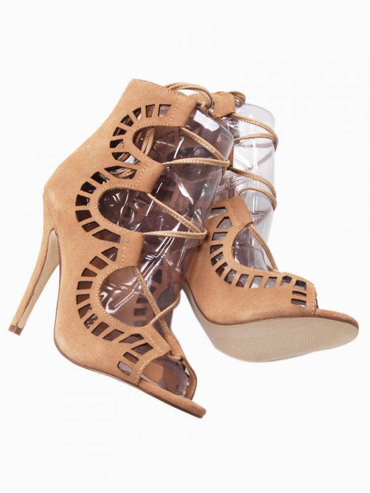 Camel Suede Peep Toe Tie Up Sandals | Choies