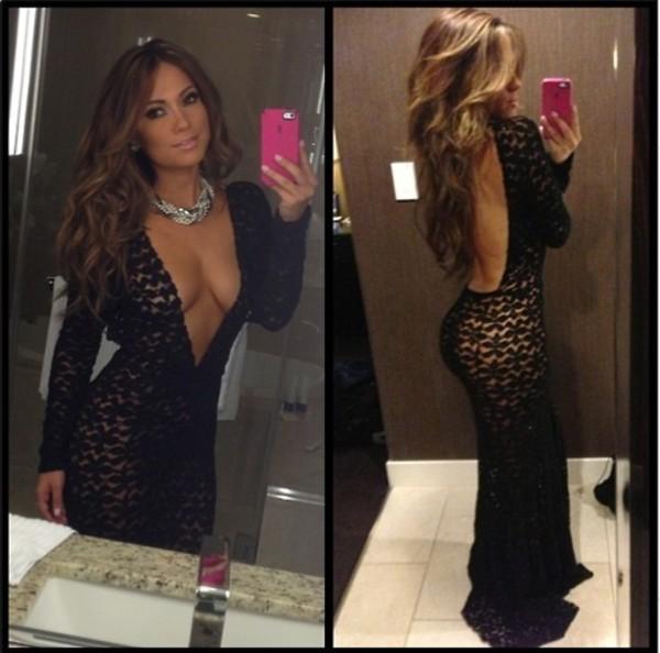 dress Jessica Burciaga Michael Costello custom black deep v dress with open back